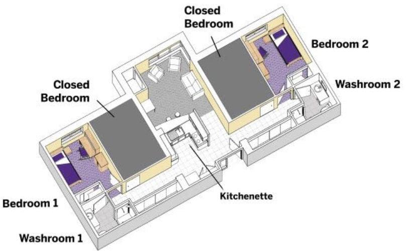 Suite-style residence floorplan