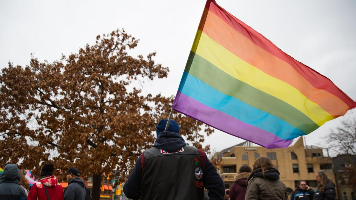 Pride flag during trans right march (Photo)