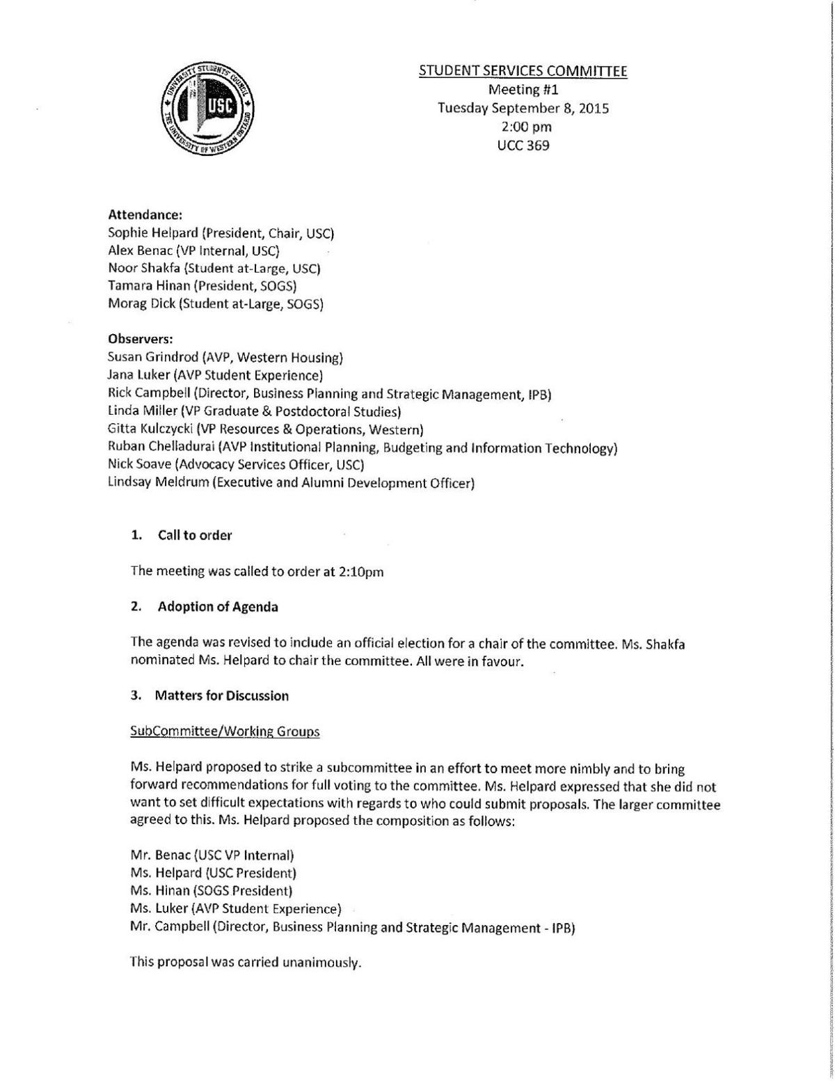 Student Services Committee September 8, 2015