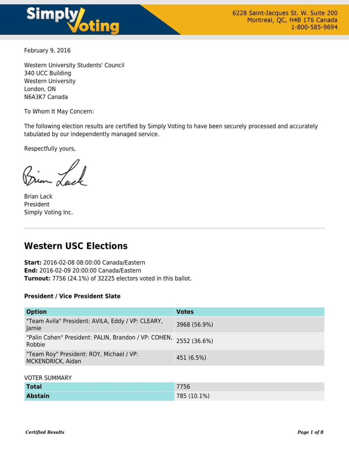 USC election results 2016