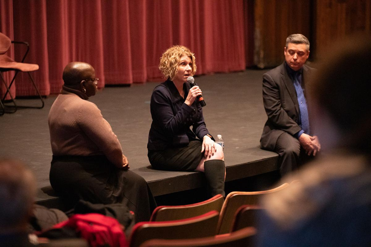 Dr. Candy McCorkle, Provost Jennifer Bott and Dr. Dan Guyette, dean of WMU's College of Fine Arts hosted the discussion.