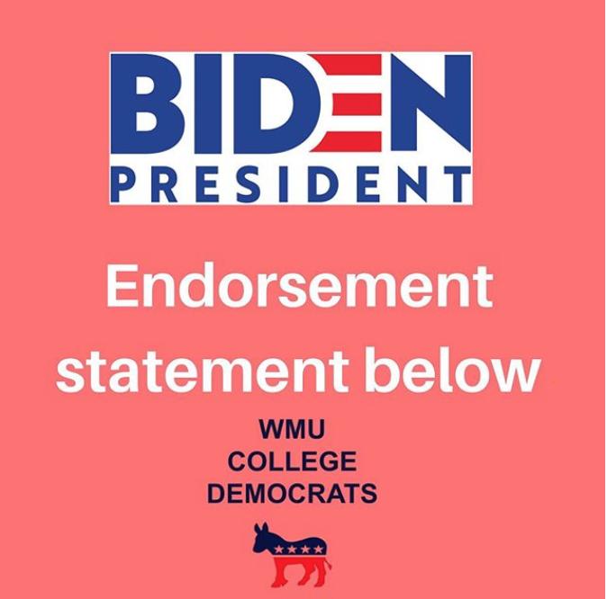 WMU College Democrats Biden Endorsement