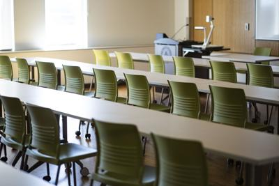 An empty classroom in WMU's Sangren Hall