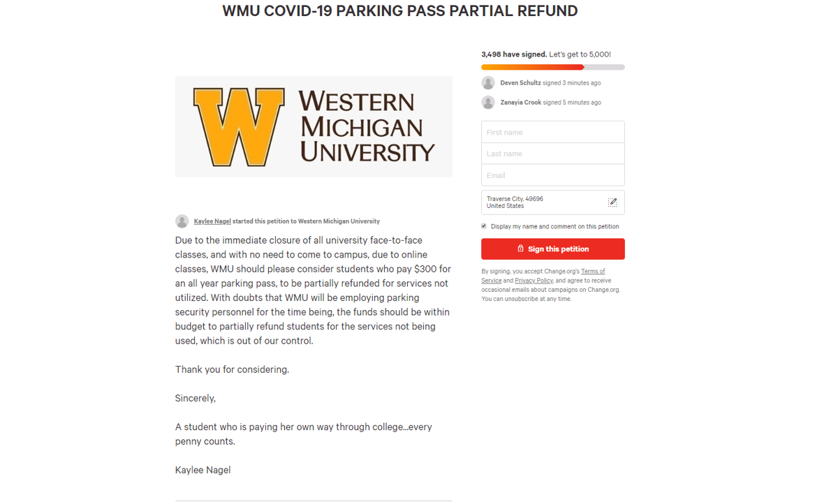 Student petitions WMU to issue refund for unutilized parking