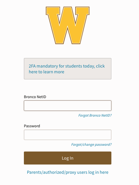 Two-factor authentication prompt on WMU's GoWMU student portal.