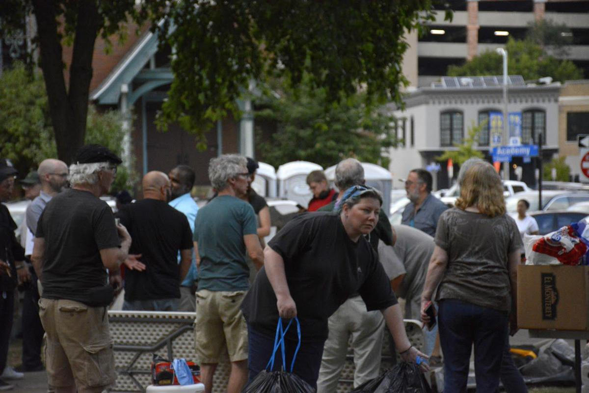 Homeless and supporters gather in Bronson Park