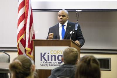 Cory King announces his campaign for County Commission at WMU College Democrats meeting