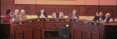 A photo from the livestream of the April 15 Kalamazoo City Commision meeting.