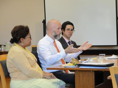 Attorney Kathy Purnell, justice for Our Neighbors Michigan, and Paul Yancho, assistant prosecuting attorney in Kalamazoo, shared their experience as lawyers during WMU-Cooley's student orientation program at its Kalamazoo location on Aug. 29.