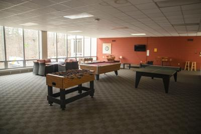 An empty game room in Hadley Hall, where students usually congregate.