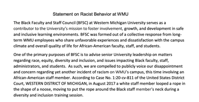 A portion of the Black Faculty Staff Council's letter regarding racism at WMU.