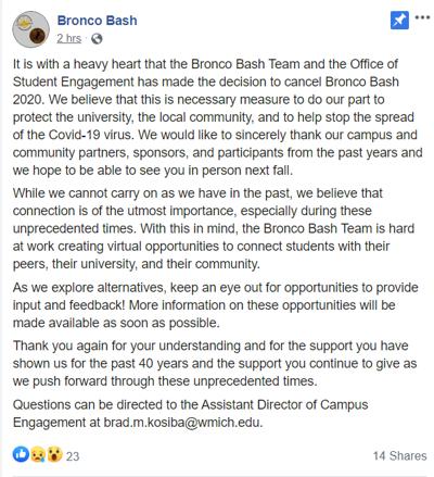 Bronco Bash Canceled
