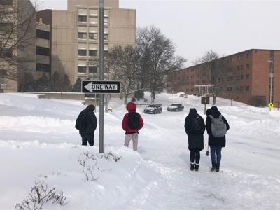WMU students in snow