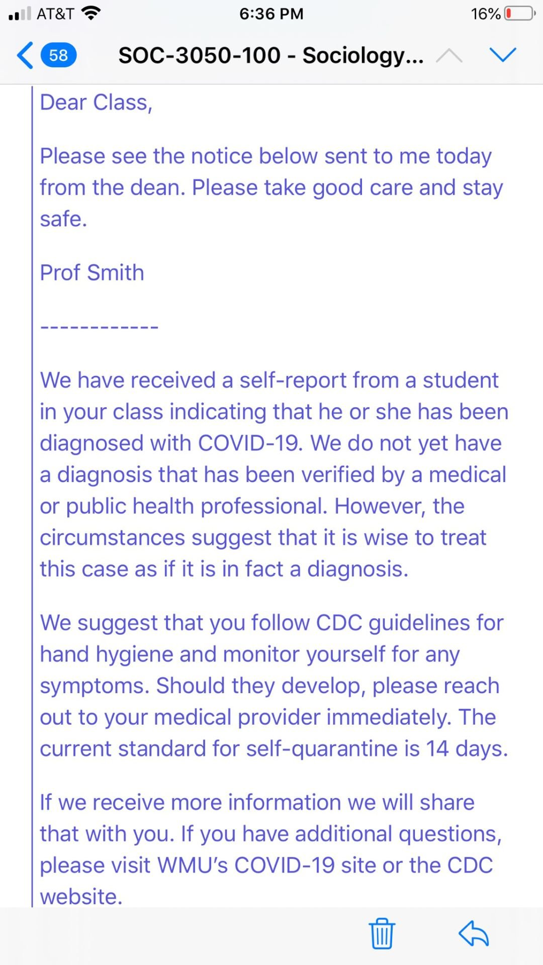 Email sent to students in sociology course with self-reporting COVID-19 victim