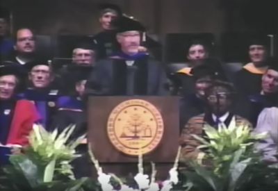 A 1976 graduate of WMU, Allen received the honorary degree from Board of Trustees Chairperson Lori B. Waddles during commencement ceremonies on June 27, 1988.