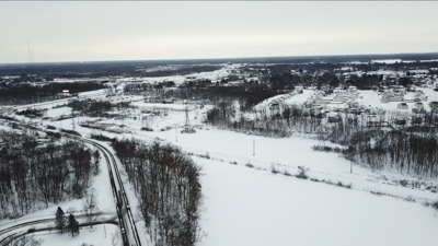 Aerial photo of snow accumulation on Jan. 25