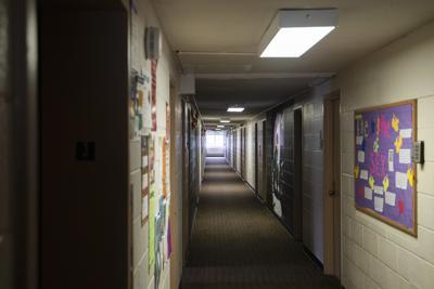 An empty dormitory hallway in Britton Hall. (copy)
