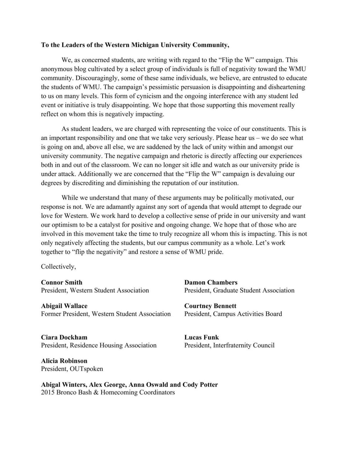 Letter to the Editor: Student leaders write to