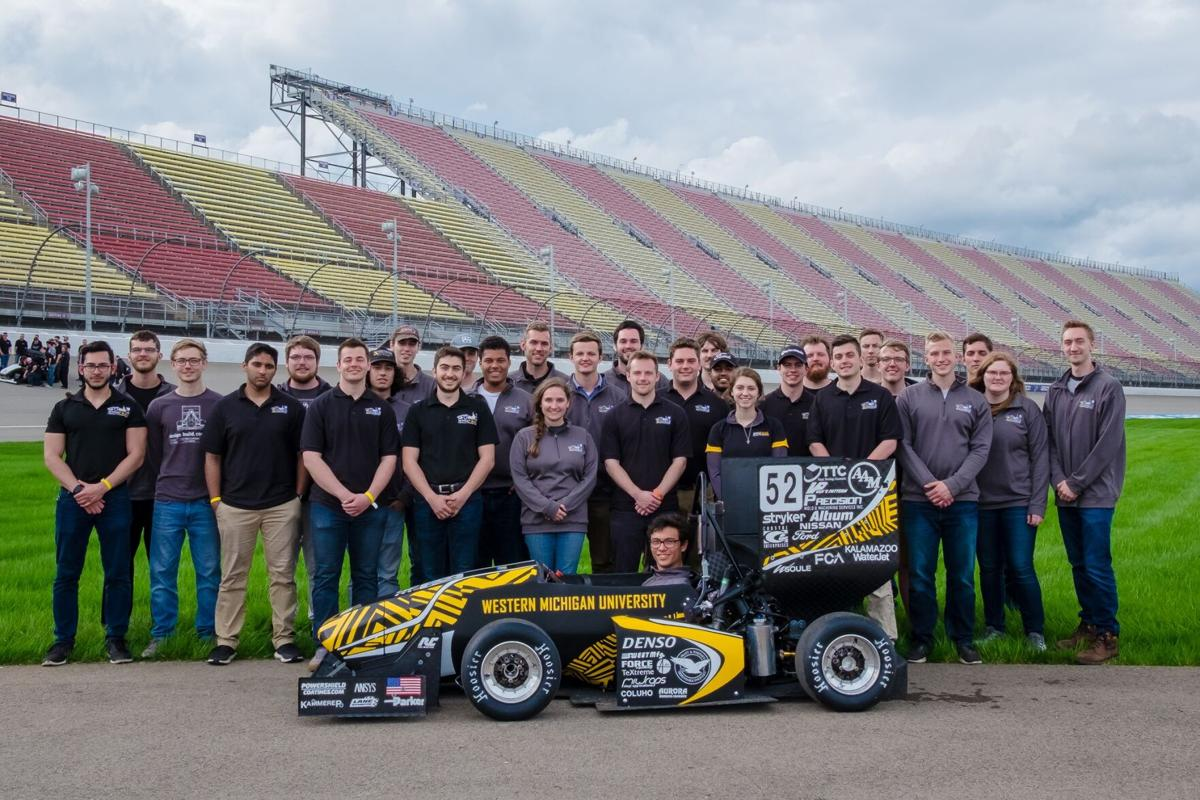 The Formula SAE team paused for a group photo after the last time they competed in 2018.