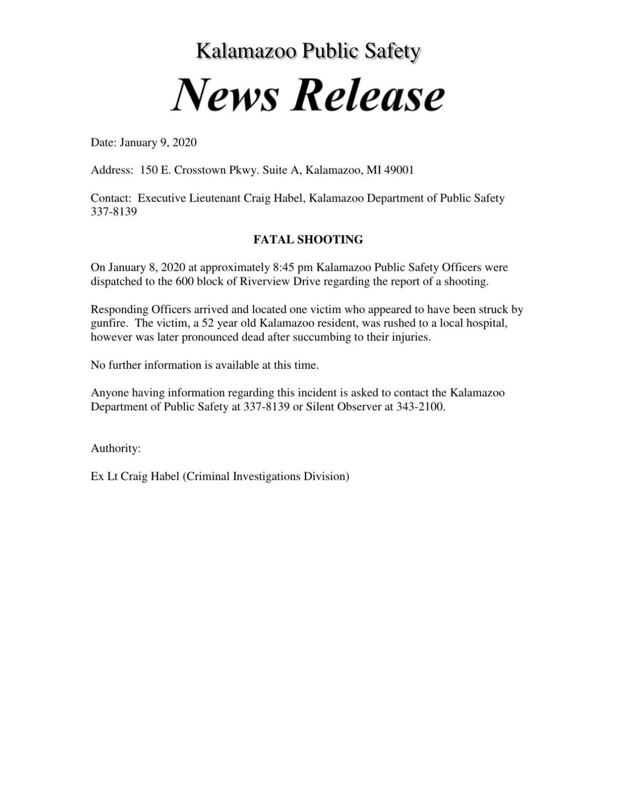 Riverview Drive shooting KDPS release