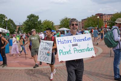 Protestors organize in downtown Kalamazoo as part of the 2019 Global Climate Strike.