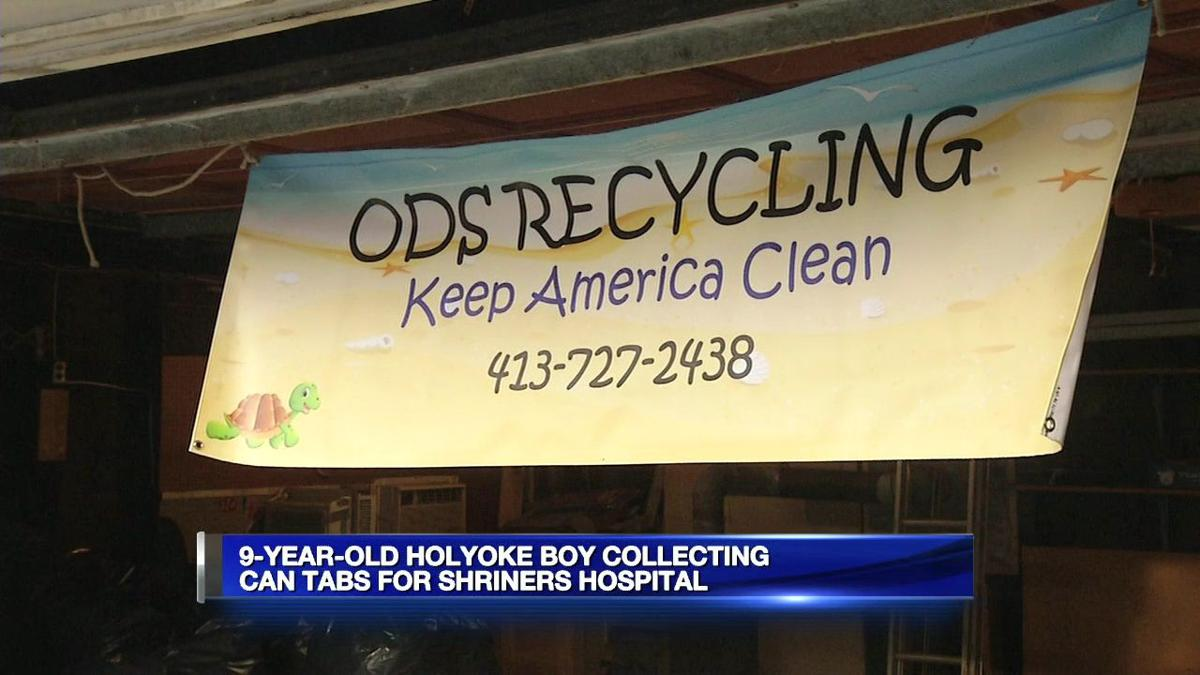 9-year-old Holyoke boy collecting can tabs for Shriner's Hospital.