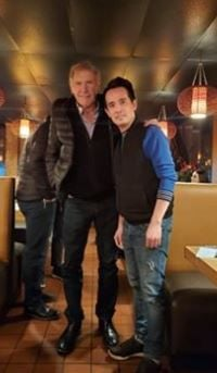 Harrison Ford pays visit to local restaurant.