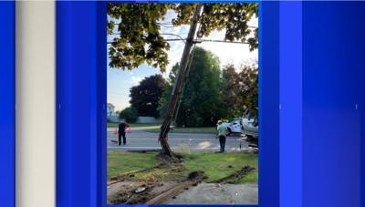 Portion of Chicopee St. closed after vehicle strikes light pole