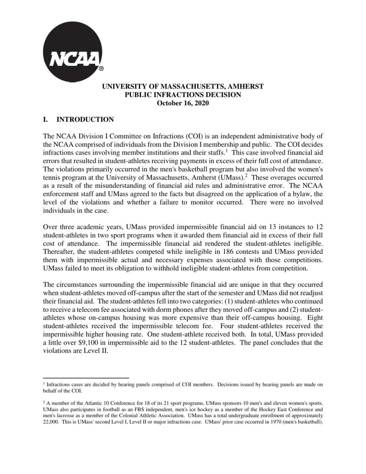 NCAA UMass report