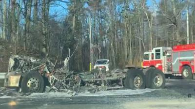 Truck fire temporarily closes section of Mass Pike in Warren