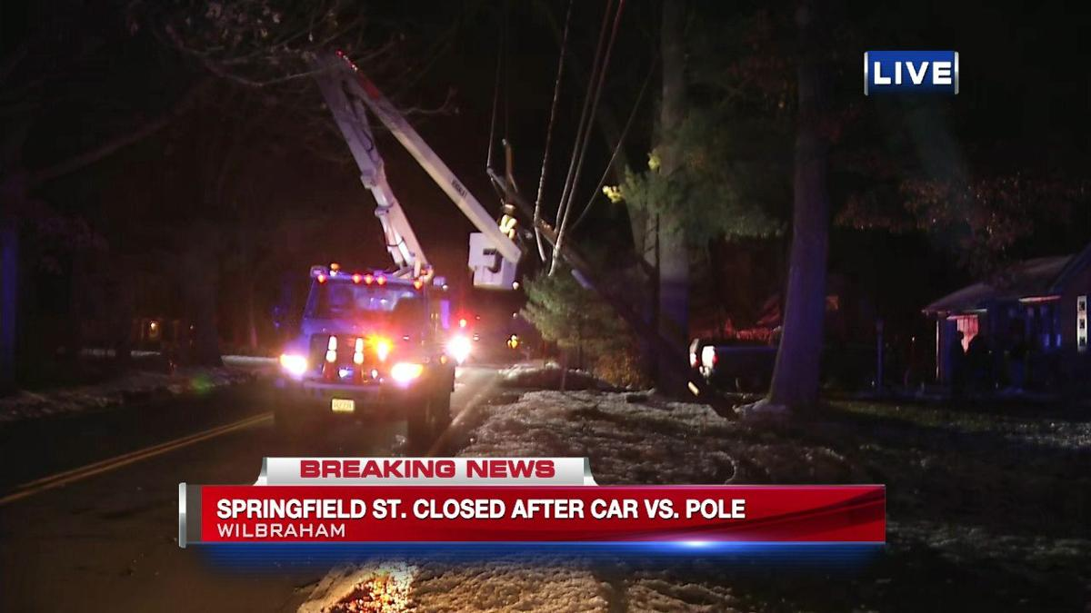 Section Of Springfield Street In Wilbraham Closed After Car Strikes Utility Pole