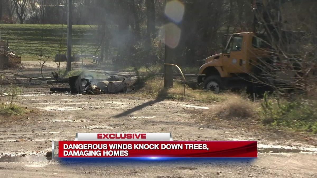Dangerous winds knock down trees, damage homes