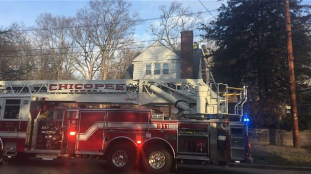 Crews on scene investigating chimney fire on Hearthstone Terrace in Chicopee.