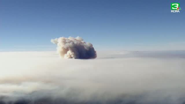 Aerial shots of smoke, flames during the Camp Fire in Butte County, CA Monday