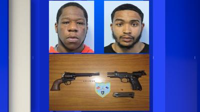 Springfield Police arrest two suspects on gun charges.