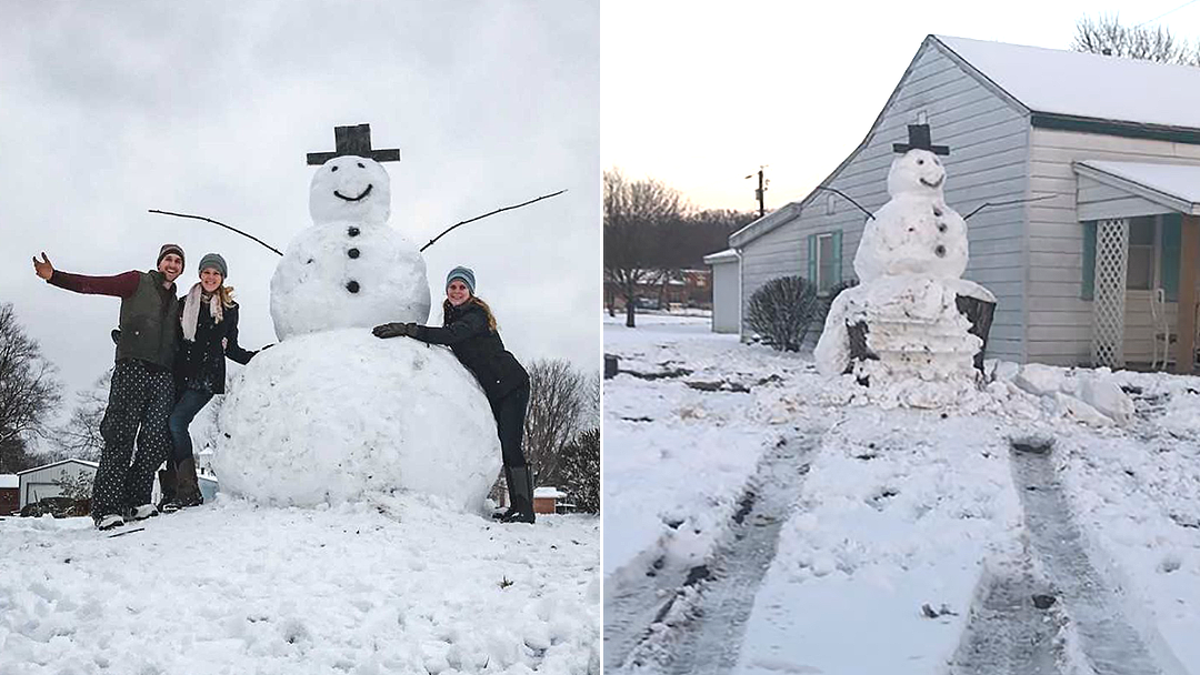 Driver tries to destroy giant snowman, hits tree stump instead