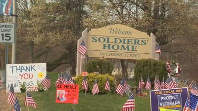 Soldiers Home sign flags COVID 042020