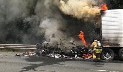 Truck fire closes part of Mass. Pike west in Westfield