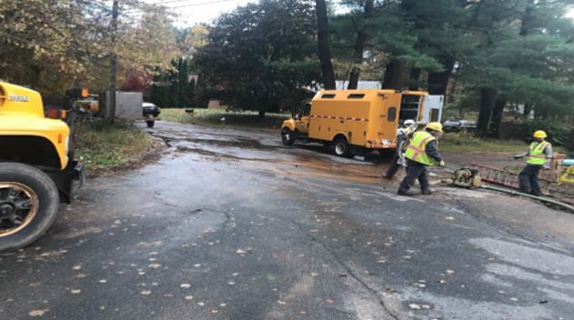 Officials working to repair water main break on Michel St. in East Longmeadow.