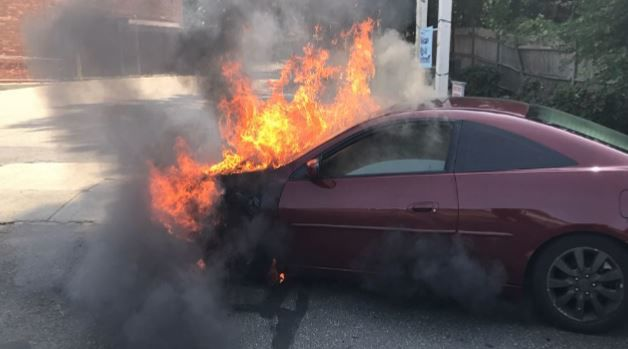 Mechanical malfunction causes vehicle in Springfield to go up in flames.