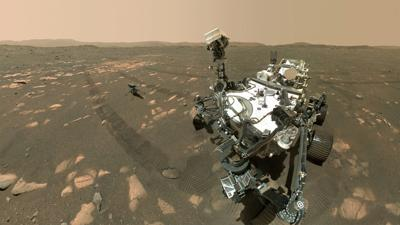 Mars Perseverance rover snaps selfie photo with Ingenuity helicopter