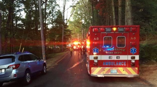 One person hospitalized after fire breaks out at Brimfield home.