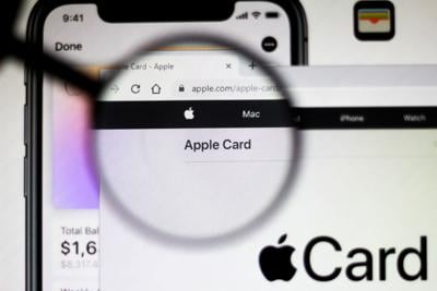 In this illustration the homepage of the Apple Card website
