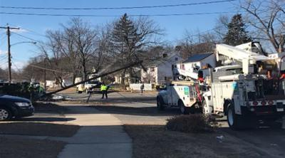 Section of East St. in Springfield closed after car strikes telephone pole.