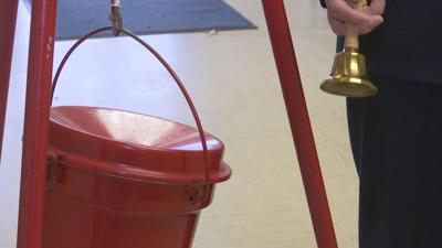 Salvation Army red kettle and bell 112519