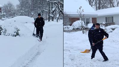 Police officers shovel more than a foot of snow for 99-year-old woman who lives alone