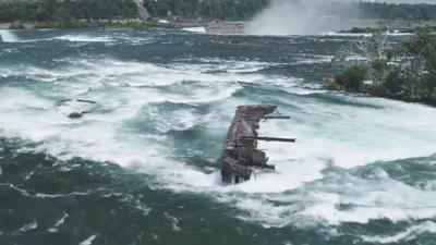 Wind and rain dislodge boat trapped on rocks above Niagara Falls for 101 years