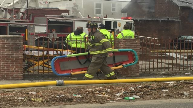 Garage collapses from fire in the South End of Springfield
