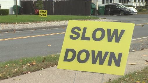 Chicopee East Main Street Slow Down sign 101218