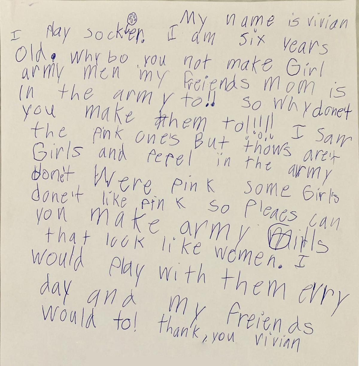 Toy company to sell 'Plastic Army Women' after 6-year-old girl writes heartfelt letter
